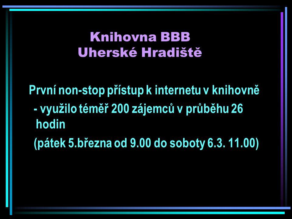 Knihovna BBB Uherské Hradiště První non-stop přístup k internetu v knihovně - využilo téměř 200 zájemců v průběhu 26 hodin (pátek 5.března od 9.00 do soboty 6.3.