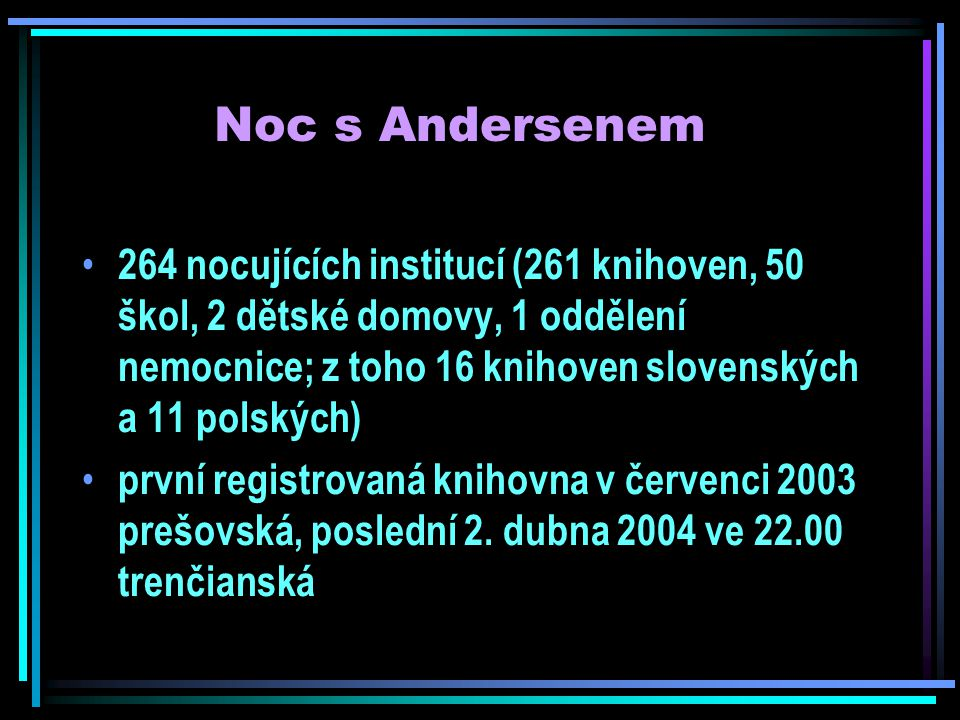 Noc s Andersenem 264 nocujících institucí (261 knihoven, 50 škol, 2 dětské domovy, 1 oddělení nemocnice; z toho 16 knihoven slovenských a 11 polských) první registrovaná knihovna v červenci 2003 prešovská, poslední 2.