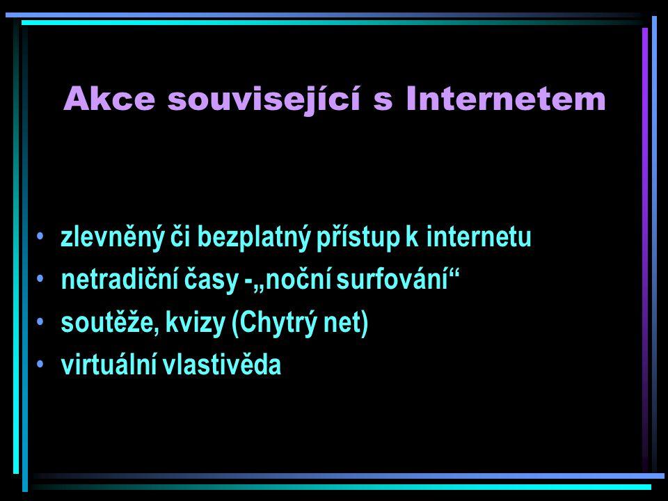 """Akce související s Internetem zlevněný či bezplatný přístup k internetu netradiční časy -""""noční surfování soutěže, kvizy (Chytrý net) virtuální vlastivěda"""