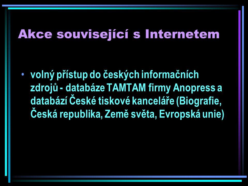 Akce související s Internetem Co se vše dá vytvořit pomocí počítače prezentace digitálních fotografií prezentace výukových programů prezentace nových produktů na CD-ROM