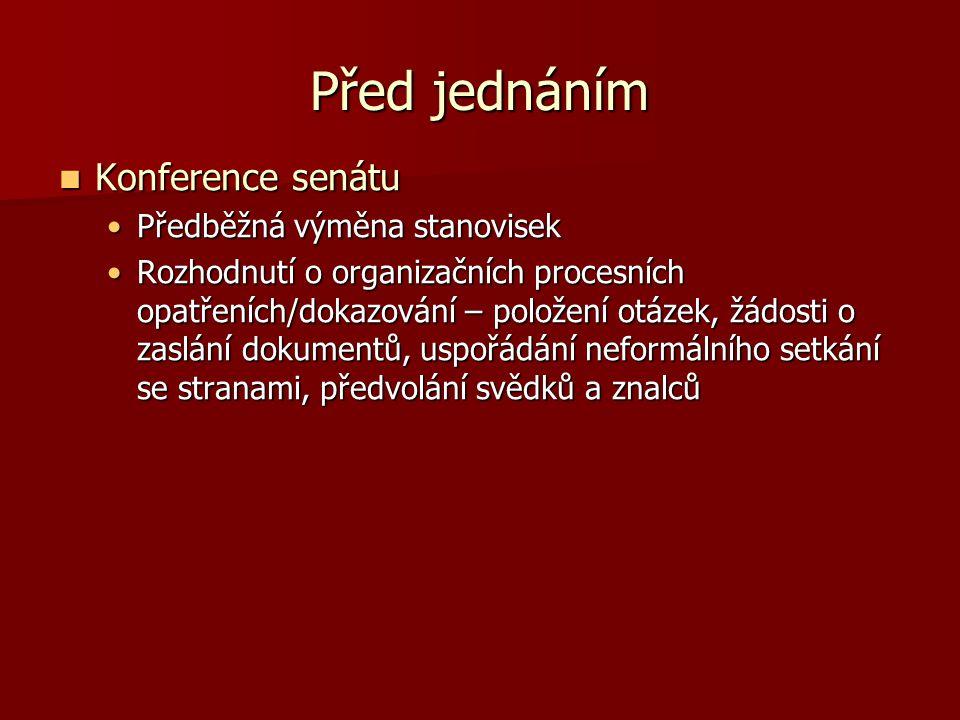 Před jednáním Konference senátu Konference senátu Předběžná výměna stanovisekPředběžná výměna stanovisek Rozhodnutí o organizačních procesních opatřeních/dokazování – položení otázek, žádosti o zaslání dokumentů, uspořádání neformálního setkání se stranami, předvolání svědků a znalcůRozhodnutí o organizačních procesních opatřeních/dokazování – položení otázek, žádosti o zaslání dokumentů, uspořádání neformálního setkání se stranami, předvolání svědků a znalců