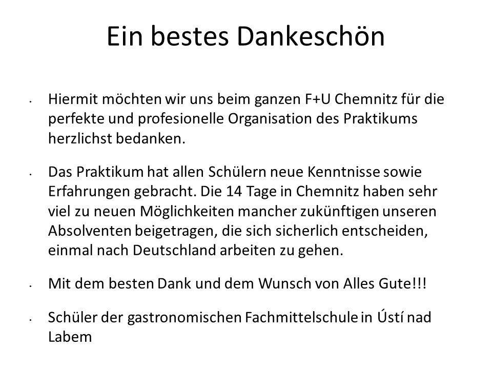 Ein bestes Dankeschön Hiermit möchten wir uns beim ganzen F+U Chemnitz für die perfekte und profesionelle Organisation des Praktikums herzlichst bedan