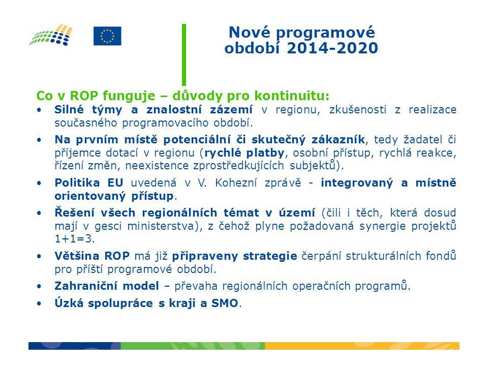 Nové programové období 2014-2020 Co v ROP funguje – důvody pro kontinuitu: Silné týmy a znalostní zázemí v regionu, zkušenosti z realizace současného programovacího období.