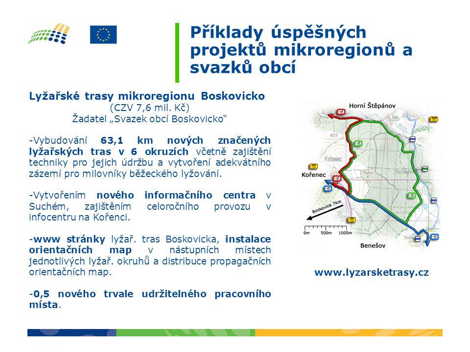 Příklady úspěšných projektů mikroregionů a svazků obcí Cyklostezka Brno-Obřany - Bílovice nad Svitavou (CZV 7,9 mil.