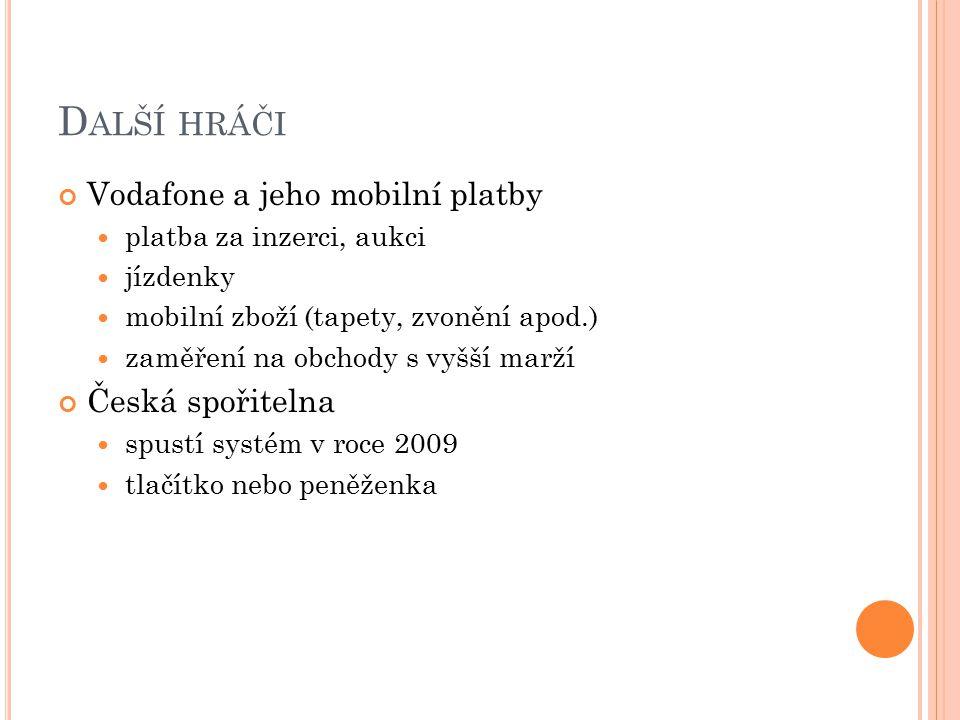D ALŠÍ HRÁČI Vodafone a jeho mobilní platby platba za inzerci, aukci jízdenky mobilní zboží (tapety, zvonění apod.) zaměření na obchody s vyšší marží Česká spořitelna spustí systém v roce 2009 tlačítko nebo peněženka