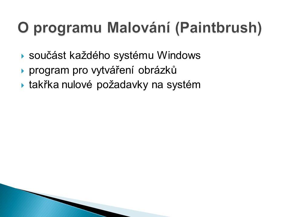  součást každého systému Windows  program pro vytváření obrázků  takřka nulové požadavky na systém