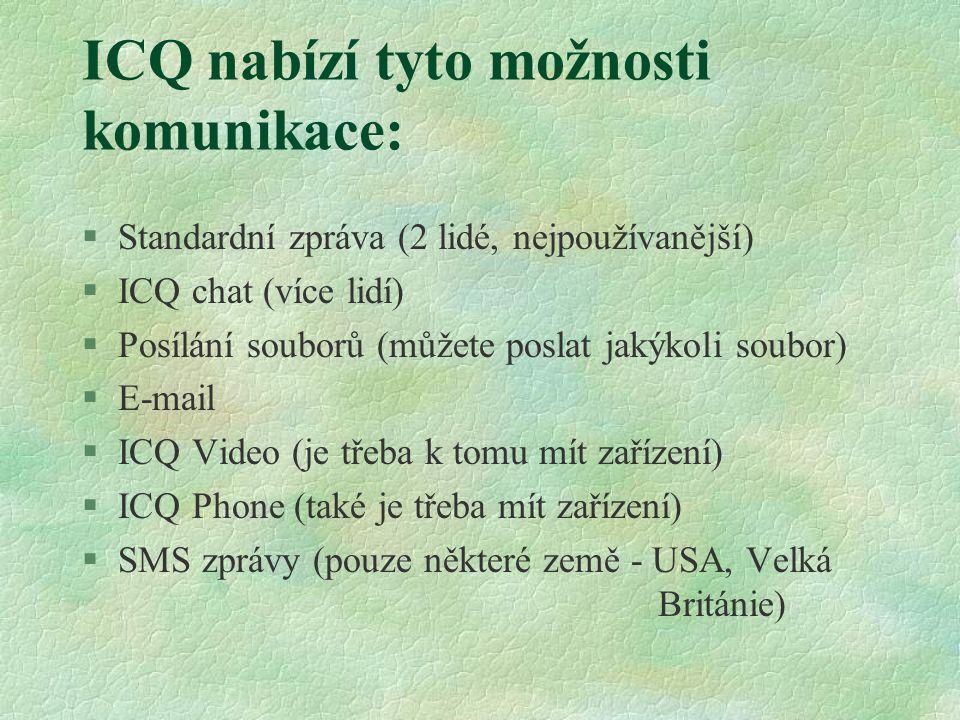 ICQ nabízí tyto možnosti komunikace: §Standardní zpráva (2 lidé, nejpoužívanější) §ICQ chat (více lidí) §Posílání souborů (můžete poslat jakýkoli soubor) §E-mail §ICQ Video (je třeba k tomu mít zařízení) §ICQ Phone (také je třeba mít zařízení) §SMS zprávy (pouze některé země - USA, Velká Británie)