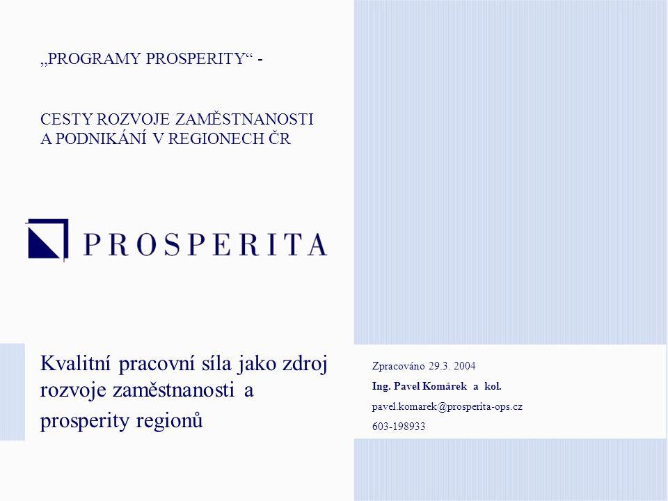 """""""RLZ jako zdroj prosperity regionu Série pracovních seminářů s partnery Agenda pracovních seminářů: 1.Cíle v RLZ, dopady, koncepce, organizace (30', Prosperita) 2.Praktické ukázky – multimédia, e-learning (15', partner) 3.Infrastrukturní a technologické projekty (30', GTS, CISCO,..) 4.Možnosti financování (20', Prosperita) 5.Diskuse Místa konání: kraje Termín: květen 2004 Informace: www.prosperita-ops.cz"""