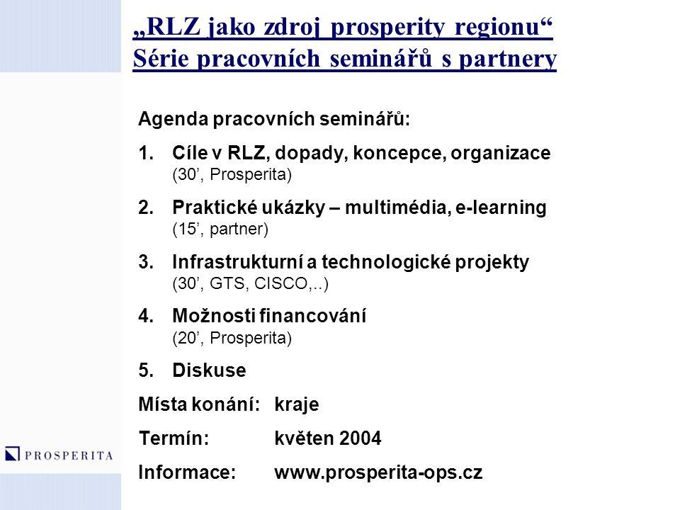 """""""RLZ jako zdroj prosperity regionu"""" Série pracovních seminářů s partnery Agenda pracovních seminářů: 1.Cíle v RLZ, dopady, koncepce, organizace (30',"""