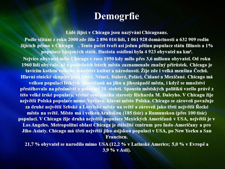 Demogrfie Lidé žijící v Chicagu jsou nazýváni Chicagoans.