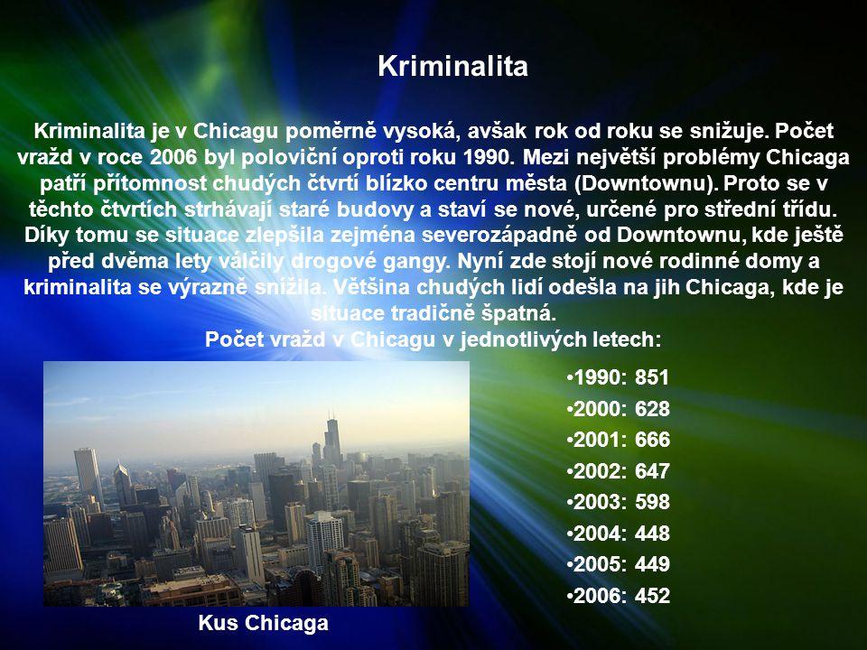 Kriminalita Kriminalita je v Chicagu poměrně vysoká, avšak rok od roku se snižuje.