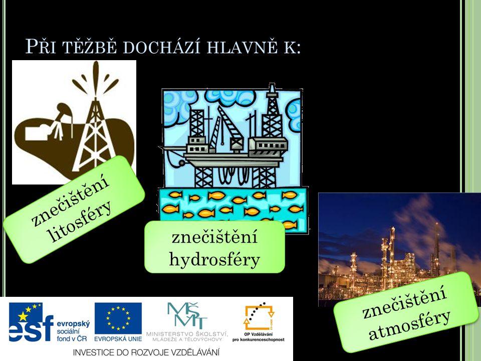 P ŘI TĚŽBĚ DOCHÁZÍ HLAVNĚ K : znečištění litosféry znečištění hydrosféry znečištění atmosféry