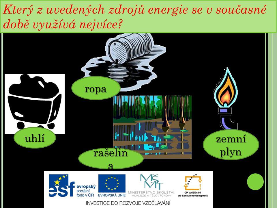FOSILNÍ PALIVA : uhlí ropa zemní plyn rašelin a Který z uvedených zdrojů energie se v současné době využívá nejvíce
