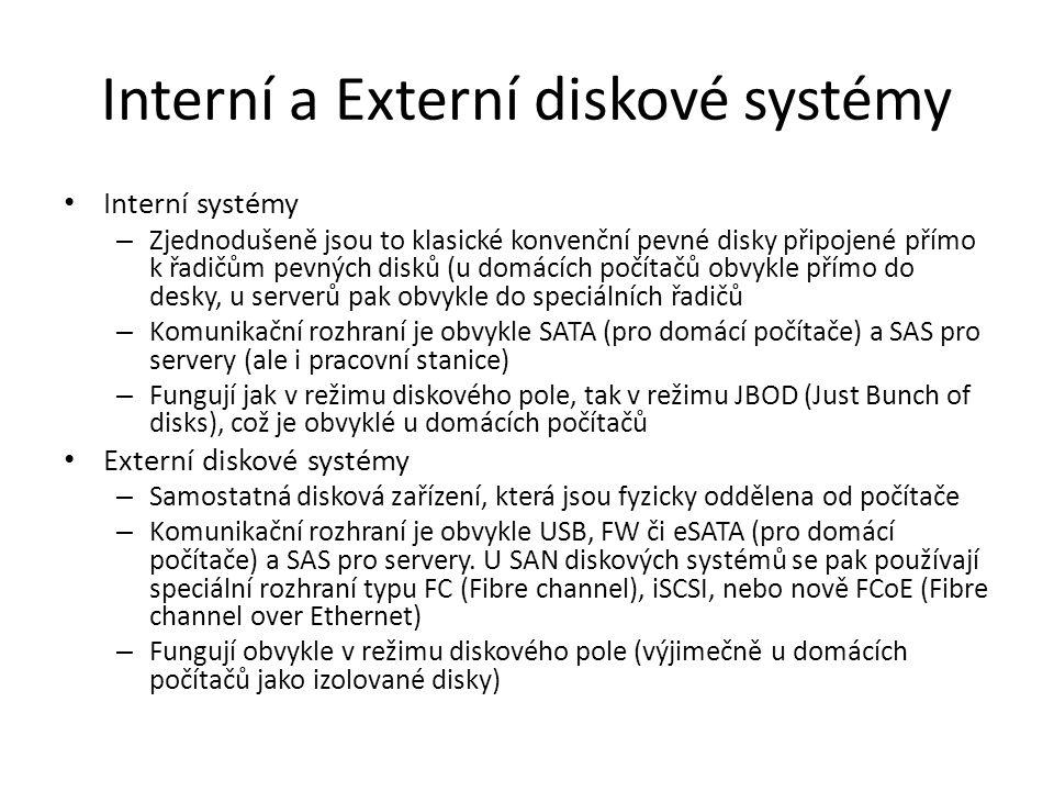 Interní a Externí diskové systémy Interní systémy – Zjednodušeně jsou to klasické konvenční pevné disky připojené přímo k řadičům pevných disků (u dom