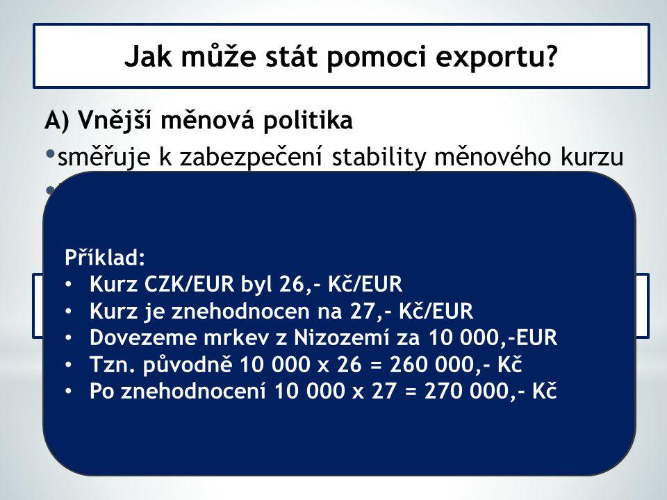 A) Vnější měnová politika směřuje k zabezpečení stability měnového kurzu kurz má vliv na ceny dováženého a vyváženého zboží znehodnocení kurzu domácí