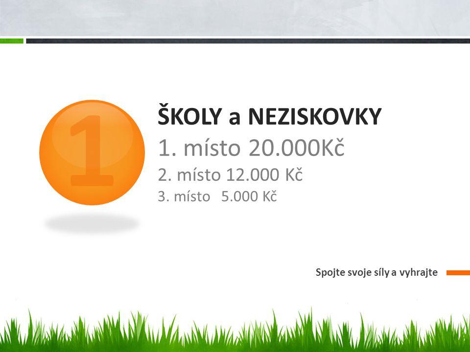 ŠKOLY a NEZISKOVKY 1. místo 20.000Kč 2. místo 12.000 Kč 3.