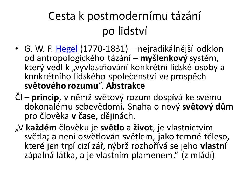 Cesta k postmodernímu tázání po lidství G. W. F. Hegel (1770-1831) – nejradikálnější odklon od antropologického tázání – myšlenkový systém, který vedl