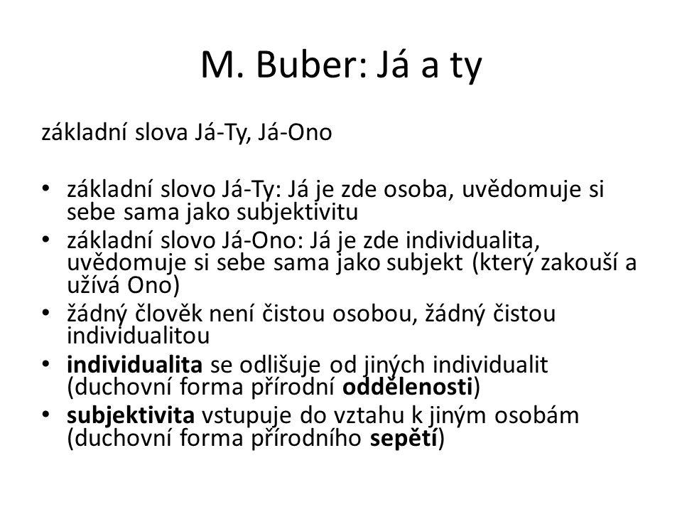 M. Buber: Já a ty základní slova Já-Ty, Já-Ono základní slovo Já-Ty: Já je zde osoba, uvědomuje si sebe sama jako subjektivitu základní slovo Já-Ono: