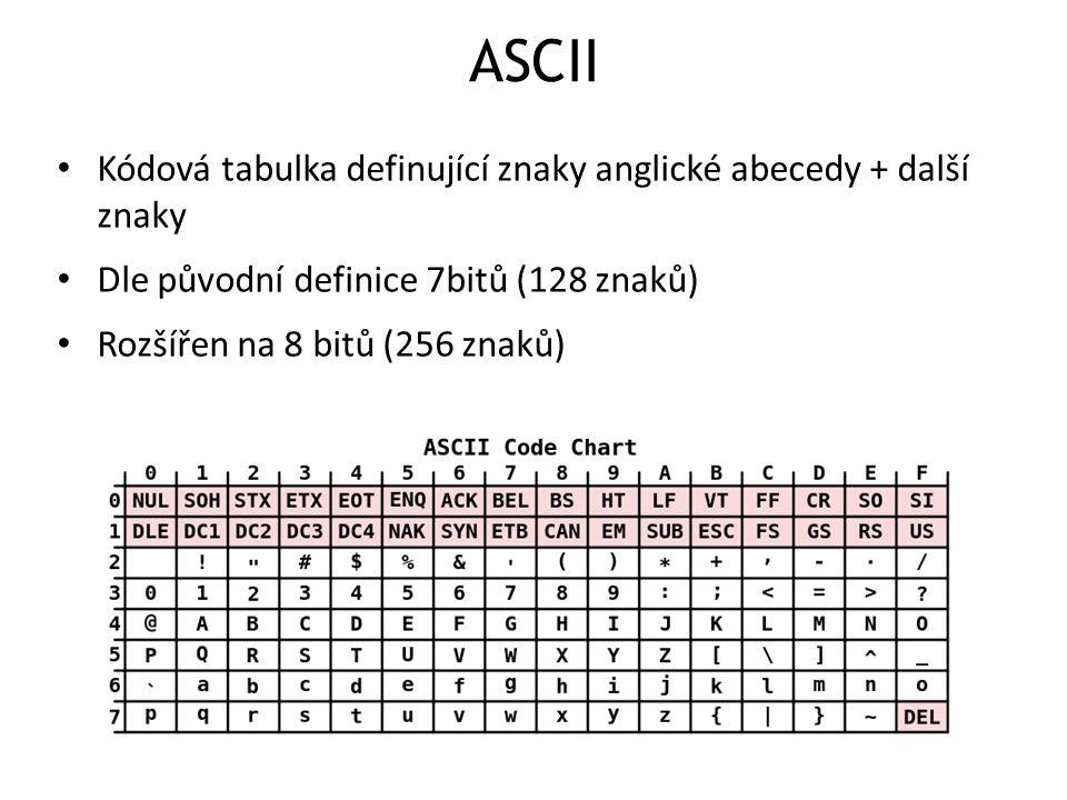 ASCII Kódová tabulka definující znaky anglické abecedy + další znaky Dle původní definice 7bitů (128 znaků) Rozšířen na 8 bitů (256 znaků)