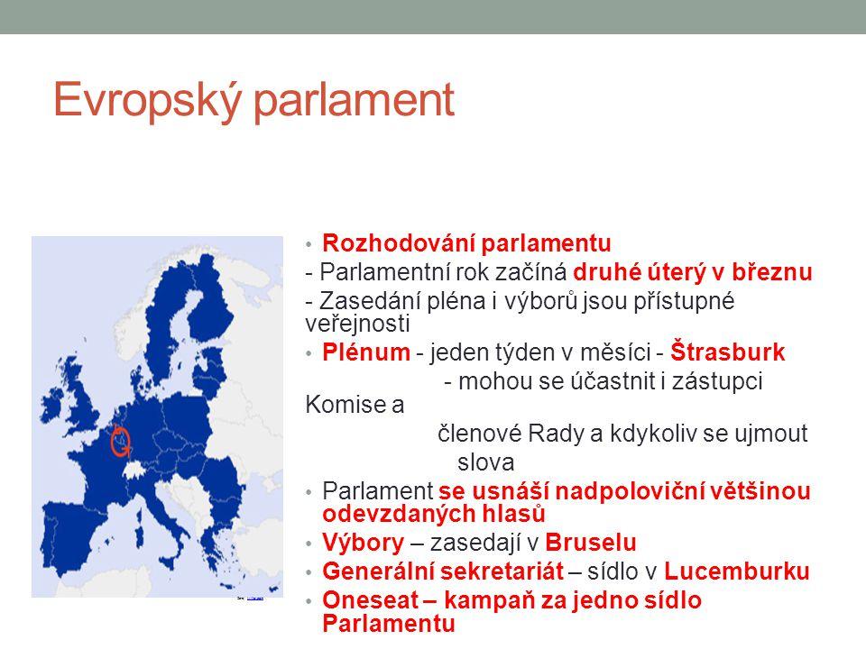 Evropský parlament Rozhodování parlamentu - Parlamentní rok začíná druhé úterý v březnu - Zasedání pléna i výborů jsou přístupné veřejnosti Plénum - j