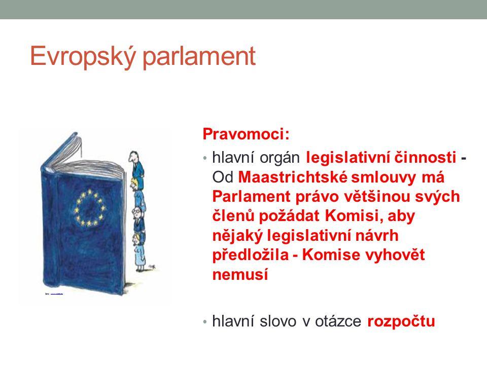 Evropský parlament Pravomoci: hlavní orgán legislativní činnosti - Od Maastrichtské smlouvy má Parlament právo většinou svých členů požádat Komisi, ab