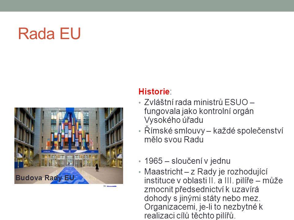 Rada EU Historie: Zvláštní rada ministrů ESUO – fungovala jako kontrolní orgán Vysokého úřadu Římské smlouvy – každé společenství mělo svou Radu 1965