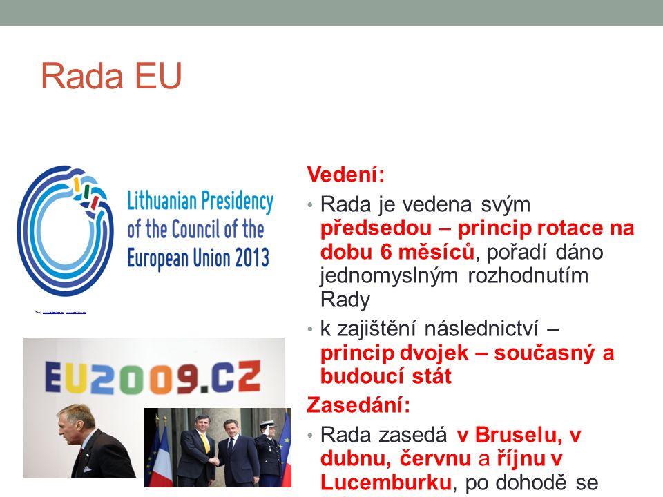Rada EU Vedení: Rada je vedena svým předsedou – princip rotace na dobu 6 měsíců, pořadí dáno jednomyslným rozhodnutím Rady k zajištění následnictví –