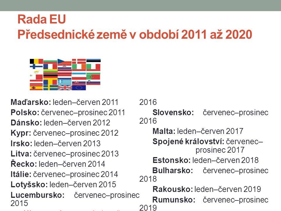 Rada EU Předsednické země v období 2011 až 2020 Maďarsko: leden–červen 2011 Polsko: červenec–prosinec 2011 Dánsko: leden–červen 2012 Kypr: červenec–pr