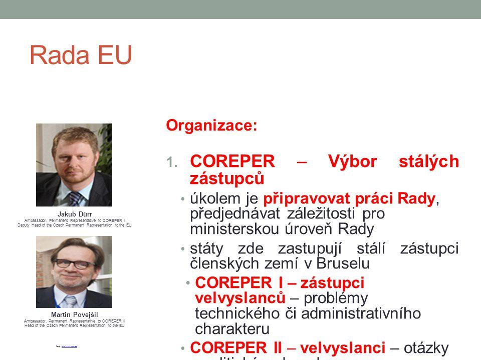 Rada EU Organizace: 1. COREPER – Výbor stálých zástupců úkolem je připravovat práci Rady, předjednávat záležitosti pro ministerskou úroveň Rady státy