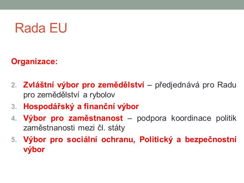 Rada EU Organizace: 2. Zvláštní výbor pro zemědělství – předjednává pro Radu pro zemědělství a rybolov 3. Hospodářský a finanční výbor 4. Výbor pro za