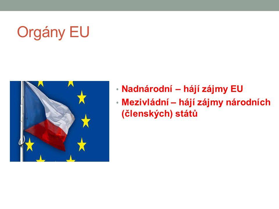 Hlavní orgány EU Evropská rada představuje pravidelné summity nejvyšších představitelů členských států, kteří určují zásadní směřování politiky Evropské unie.