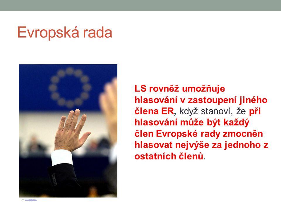 Evropská rada LS rovněž umožňuje hlasování v zastoupení jiného člena ER, když stanoví, že při hlasování může být každý člen Evropské rady zmocněn hlas