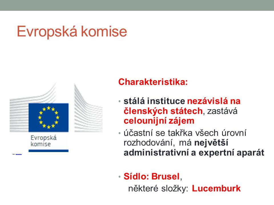 Evropská komise Charakteristika: stálá instituce nezávislá na členských státech, zastává celounijní zájem účastní se takřka všech úrovní rozhodování,