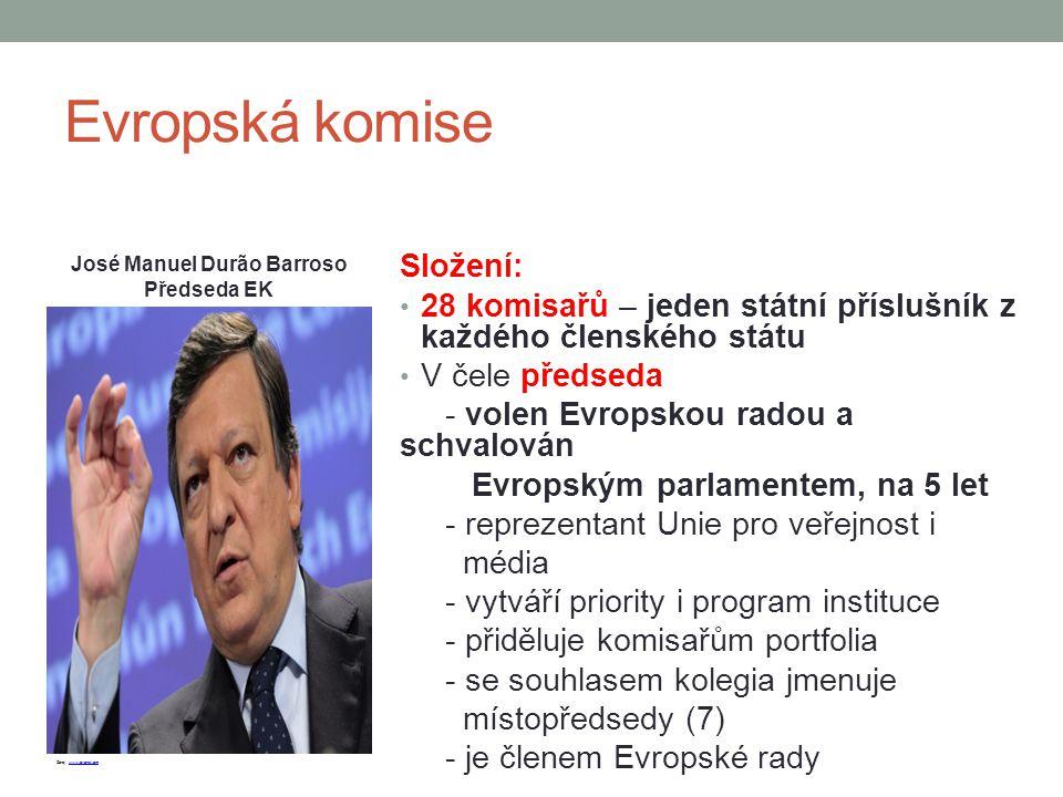 Evropská komise Složení: 28 komisařů – jeden státní příslušník z každého členského státu V čele předseda - volen Evropskou radou a schvalován Evropský