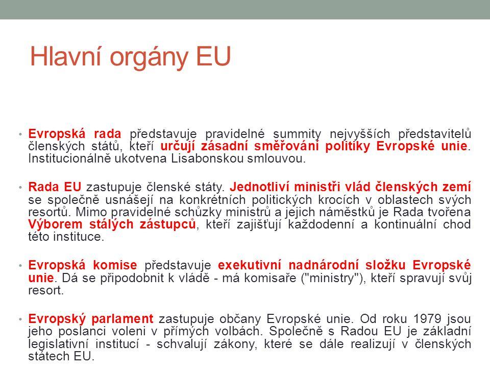 Hlavní orgány EU Soudní dvůr EU se zabývá evropským právem a jeho aplikací v členských státech EU.