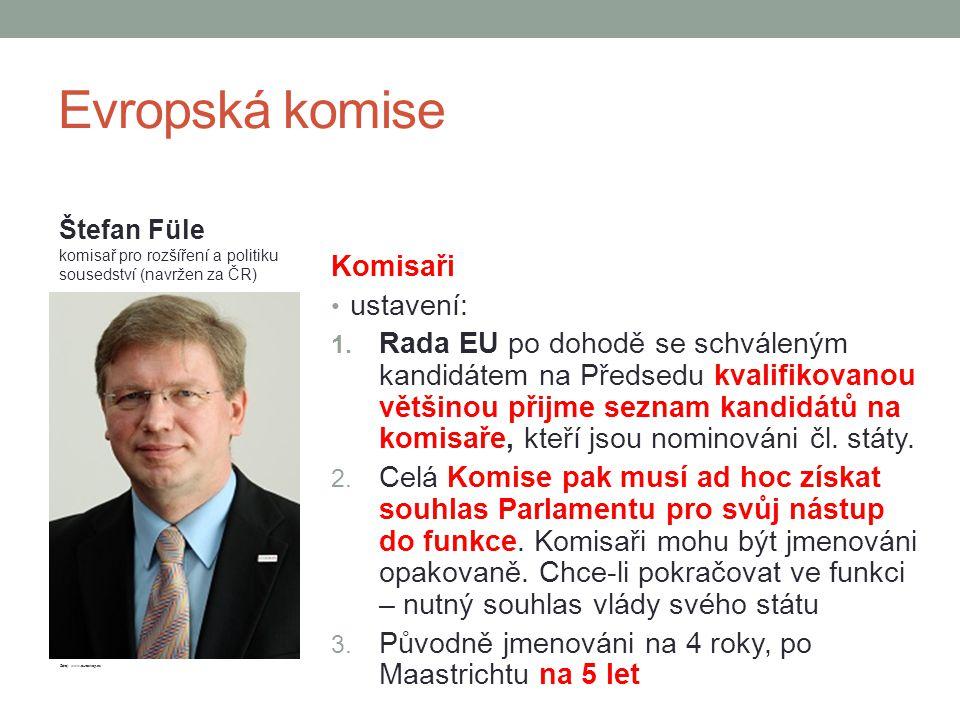 Evropská komise Komisaři ustavení: 1. Rada EU po dohodě se schváleným kandidátem na Předsedu kvalifikovanou většinou přijme seznam kandidátů na komisa