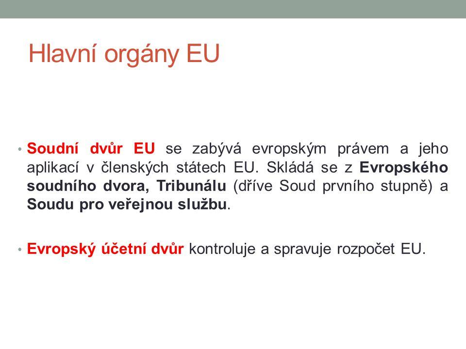 Hlavní orgány EU Soudní dvůr EU se zabývá evropským právem a jeho aplikací v členských státech EU. Skládá se z Evropského soudního dvora, Tribunálu (d