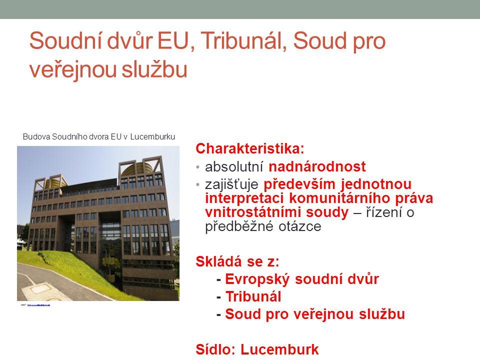 Soudní dvůr EU, Tribunál, Soud pro veřejnou službu Charakteristika: absolutní nadnárodnost zajišťuje především jednotnou interpretaci komunitárního pr