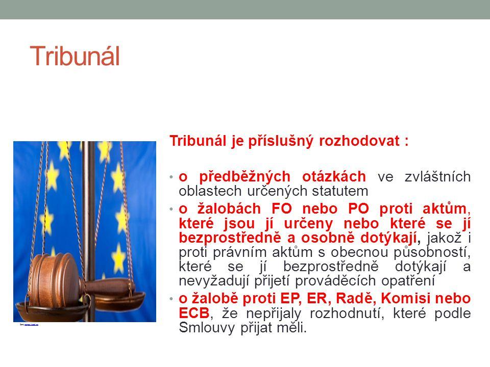 Tribunál Tribunál je příslušný rozhodovat : o předběžných otázkách ve zvláštních oblastech určených statutem o žalobách FO nebo PO proti aktům, které