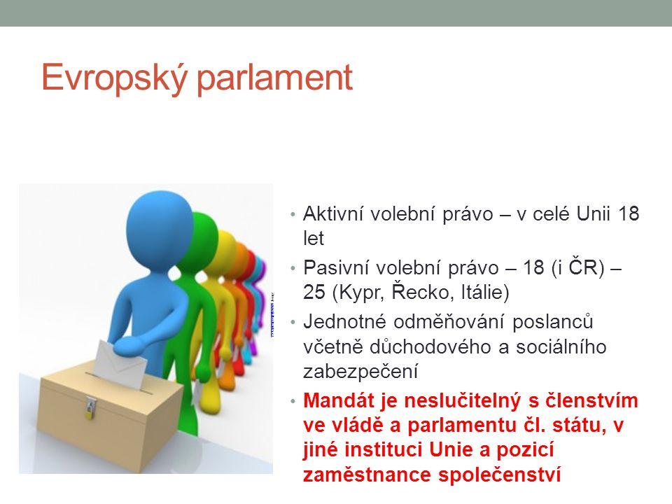 Evropský parlament Aktivní volební právo – v celé Unii 18 let Pasivní volební právo – 18 (i ČR) – 25 (Kypr, Řecko, Itálie) Jednotné odměňování poslanc