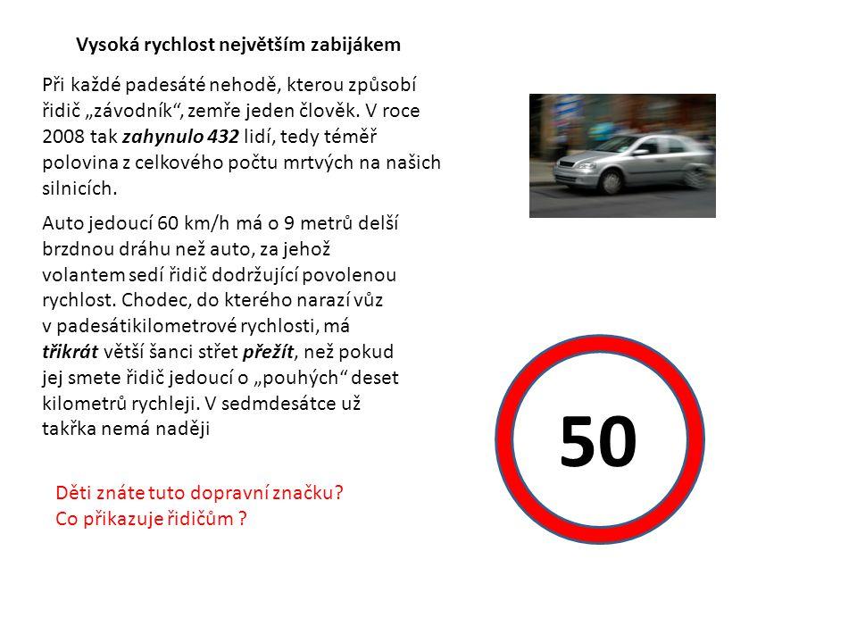"""Vysoká rychlost největším zabijákem Při každé padesáté nehodě, kterou způsobí řidič """"závodník , zemře jeden člověk."""