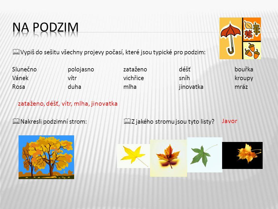  Vypiš do sešitu všechny projevy počasí, které jsou typické pro podzim: Slunečnopolojasnozataženodéšťbouřka Vánekvítrvichřicesníhkroupy Rosaduhamlhaj