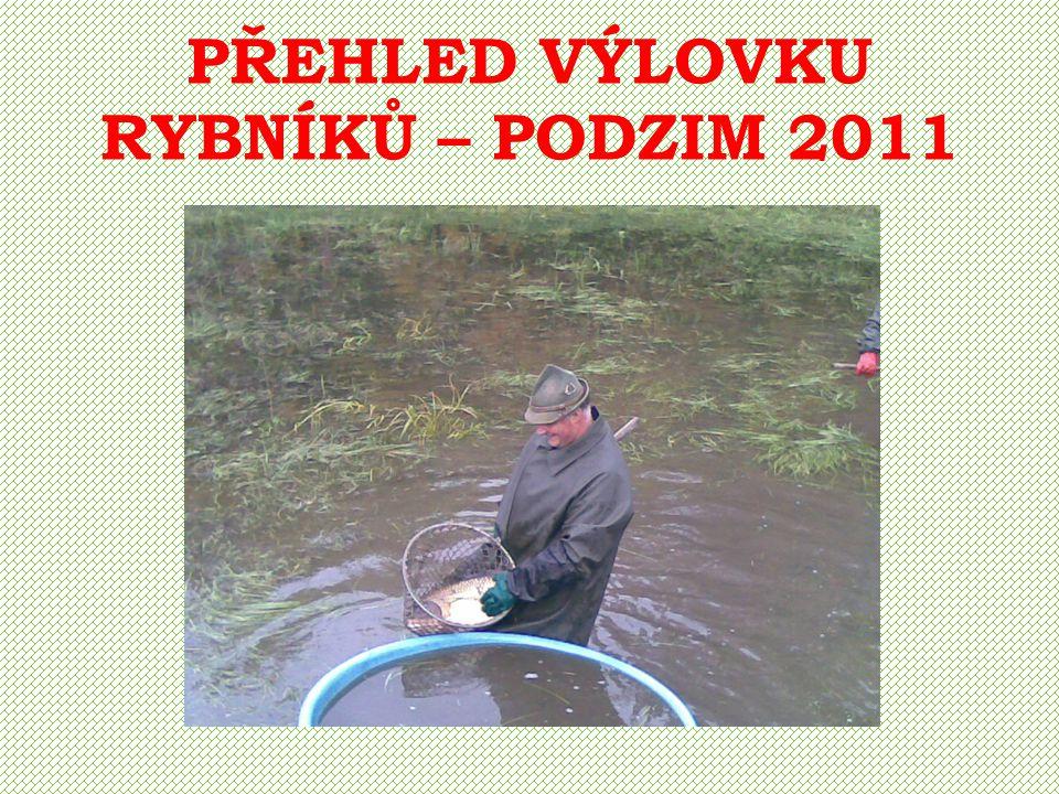 PŘEHLED NASAZENÍ KOMOROVÝCH RYBNÍKŮ – ZIMA 2011/2012 Voborský Kapr K 2 - 3 200 ks 850 kg
