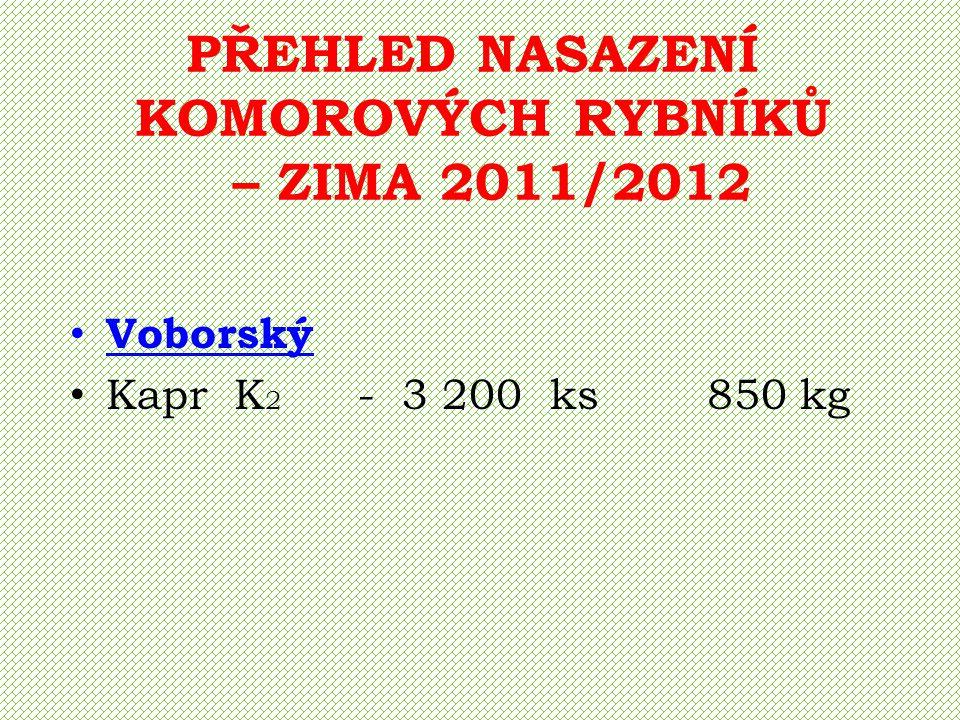PŘEHLED NASAZENÍ KOMOROVÝCH RYBNÍKŮ – ZIMA 2011/2012 Malíkovský Kapr K 1 - 3 600 ks 360 kg Kapr K 2 - 1 700 ks 700 kg Kapr K g - 77 ks 400 kg Candát Ca g - 10 ks Amur Am g - 32 ks Lín L g - 50 kg