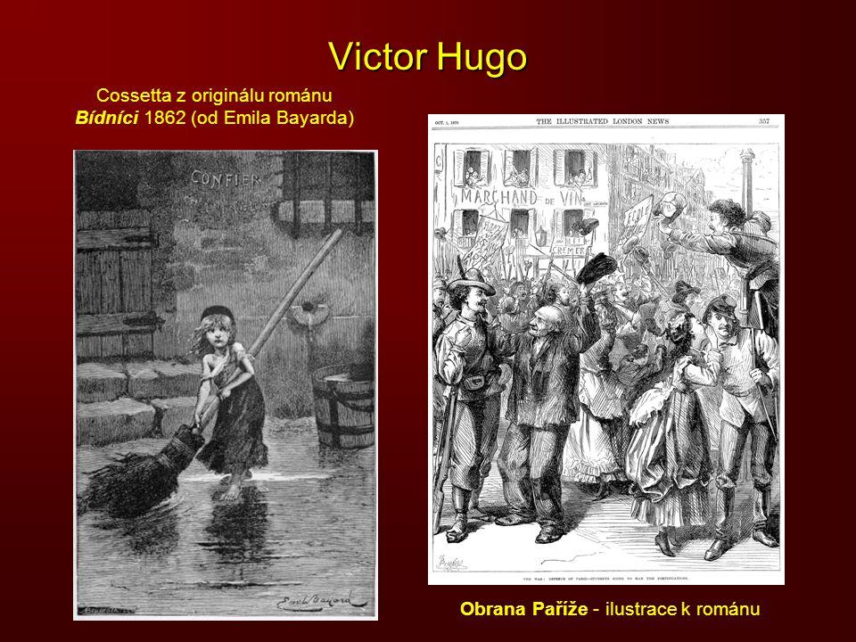 Victor Hugo Cossetta z originálu románu Bídníci 1862 (od Emila Bayarda) Obrana Paříže - ilustrace k románu