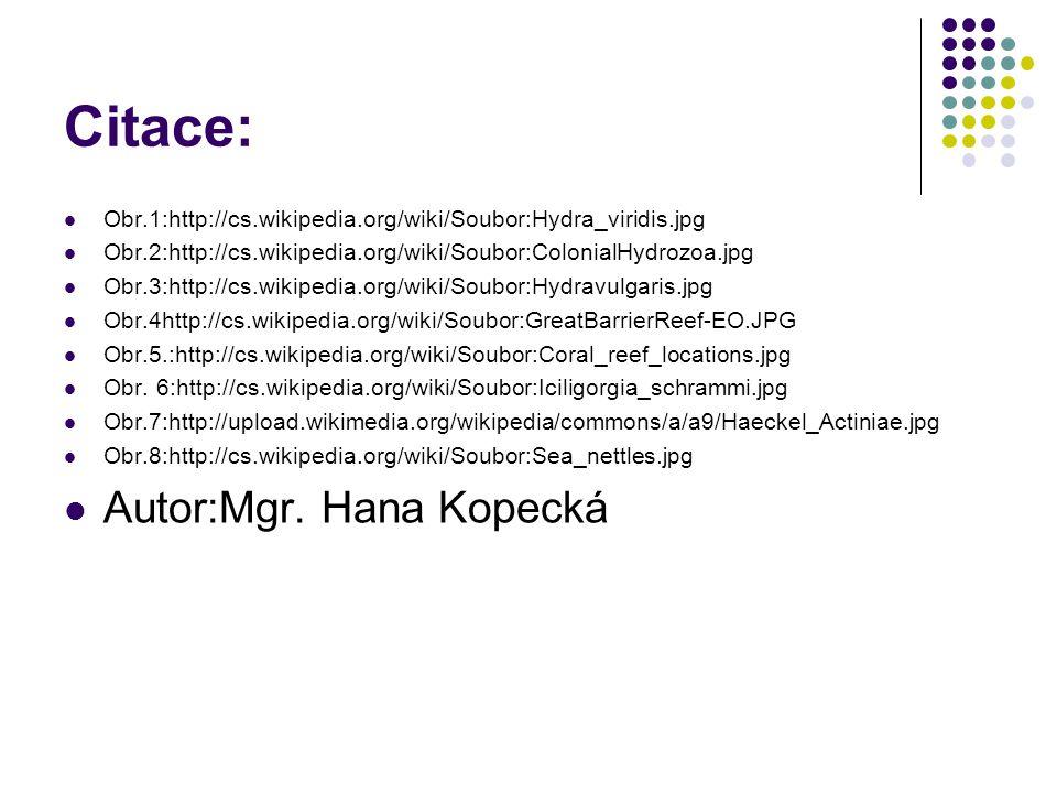 Citace: Obr.1:http://cs.wikipedia.org/wiki/Soubor:Hydra_viridis.jpg Obr.2:http://cs.wikipedia.org/wiki/Soubor:ColonialHydrozoa.jpg Obr.3:http://cs.wik