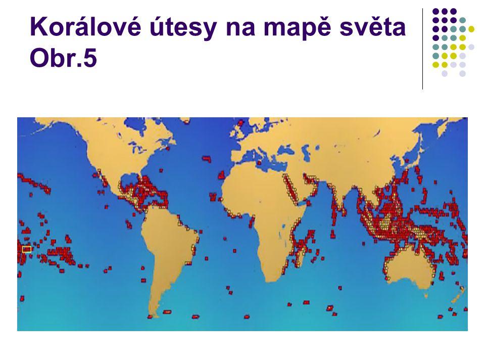 Korálové útesy na mapě světa Obr.5