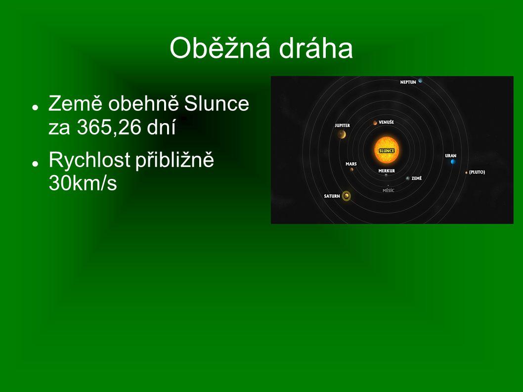 Oběžná dráha Země obehně Slunce za 365,26 dní Rychlost přibližně 30km/s