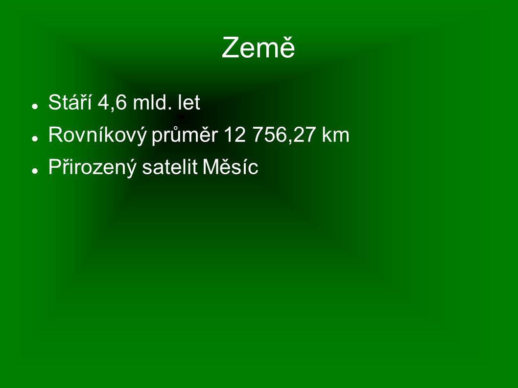 Stáří 4,6 mld. let Rovníkový průměr 12 756,27 km Přirozený satelit Měsíc