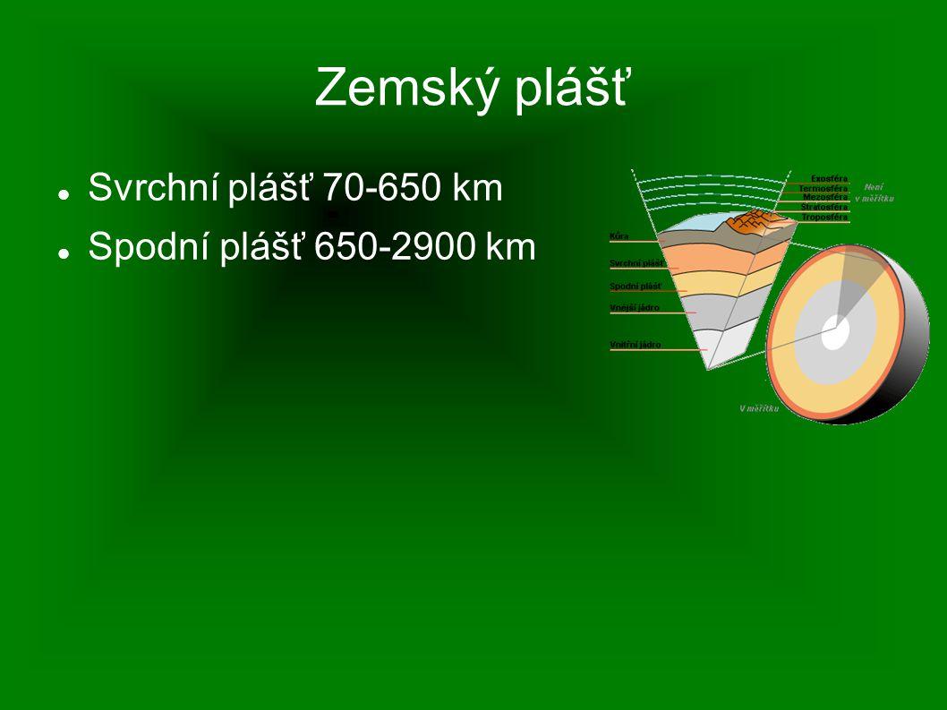 Zemský plášť Svrchní plášť 70-650 km Spodní plášť 650-2900 km